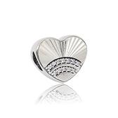 Pandora 潘朵拉 愛心鑲鋯扇狀浮雕 純銀墜飾 串珠