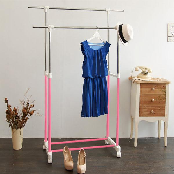 【H&R安室家】台製時尚雙桿延伸曬衣架/掛衣架-HG60B