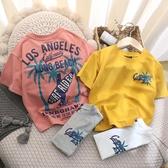 男童T恤 度假風短袖~兒童夏季短袖T恤2020新款男童正韓棉質短袖t【快速出貨】