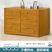 《固的家具GOOD》100-31-AT 貝克實木4.2尺六斗櫃【雙北市含搬運組裝】