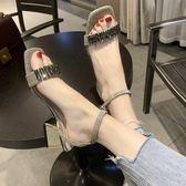 夏季新款一字帶搭扣水鉆粗跟涼鞋中跟露出方頭性感百搭女鞋潮