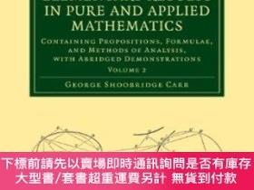 二手書博民逛書店A罕見Synopsis Of Elementary Results In Pure And Applied Mat