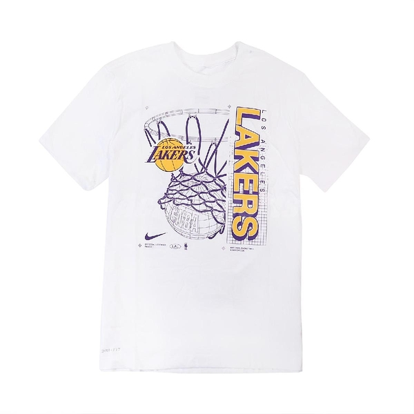 Nike 短袖T恤 NBA Lakers Shirts 白 紫 黃 男款 籃球 湖人隊 塗鴉 運動休閒 【ACS】 CV6111-100