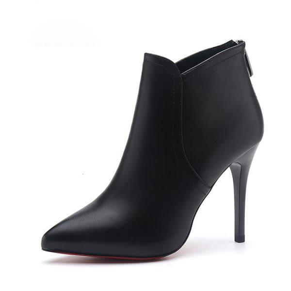 YAHOO618◮秋冬新款尖頭短靴後拉鍊百搭女靴高跟鞋細跟顯瘦時裝靴馬丁靴 韓趣優品☌