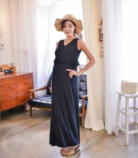 【15084】優雅舒適長款連身裙/哺乳裙/孕婦洋裝/孕婦裝(M)