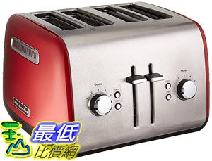 [8美國直購] 烤麵包機 KitchenAid KMT4115ER Stainless Steel, 4-Slice Toaster, 11.5 L x 12.5 W x 8.3 H