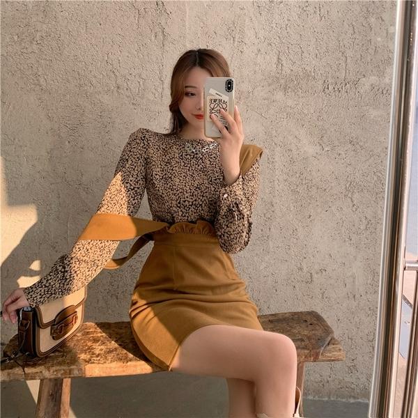 超殺29折 韓系復古顯瘦荷葉邊背帶裙豹紋套裝長袖裙裝