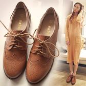 牛津鞋 英倫風女鞋布洛克復古小皮鞋女平底學院粗跟學生牛津韓版單鞋【極有家】