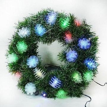 【南紡購物中心】【聖誕限定】20 吋LED松果燈光纖聖誕花圈