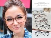韓風復古細版黑膠框‧大橢圓型Q版平光眼鏡【ob812】*911 SHOP*
