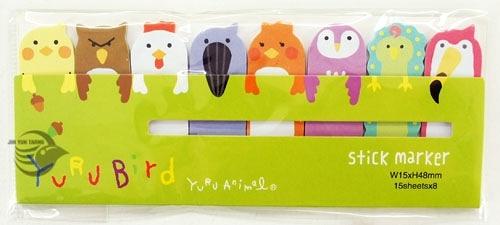 【金玉堂文具】STICK MARKER 造型便利貼 鳥類動物篇-貓頭鷹 公雞 孔雀 HT1210-365(綠) 標籤貼