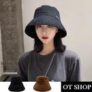 [現貨]帽子 簡約素色漁夫帽 遮陽帽 英文字母刺繡 可調整帽圍 文青穿搭配件 黑/焦糖 C2105 OT SHOP
