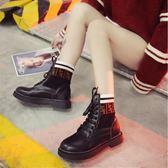 短靴 襪靴 新款繫帶chic馬丁靴女