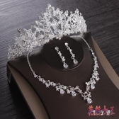 套鍊 新款新娘頭飾結婚公主婚紗發飾超仙大氣皇冠項鍊耳環套裝韓式 DN20838【花貓女王】
