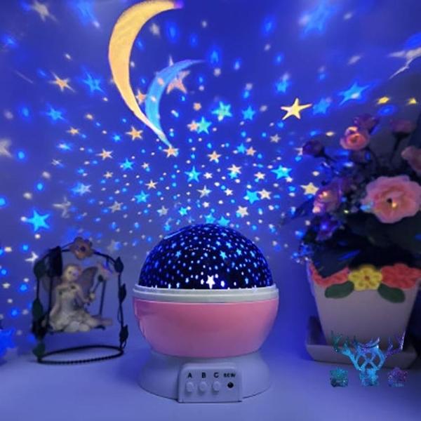 小夜燈創意星空投影燈旋轉睡眠臥室床頭夢幻滿天星星光【古怪舍】