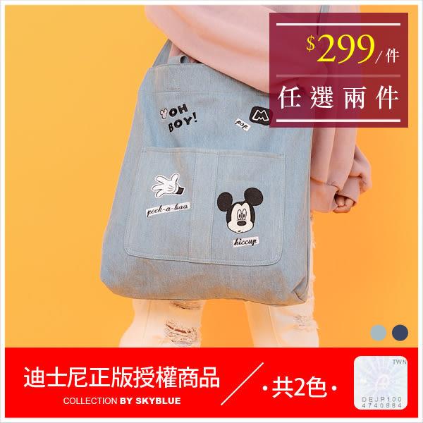 手提包-迪士尼造型驚嚇米奇牛仔帆布側背包-共2色-A15152220-天藍小舖