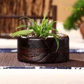 天然實木多肉植物花盆 日式燒桐木小花器 個性花器花瓶田園風 YL-WTSX174