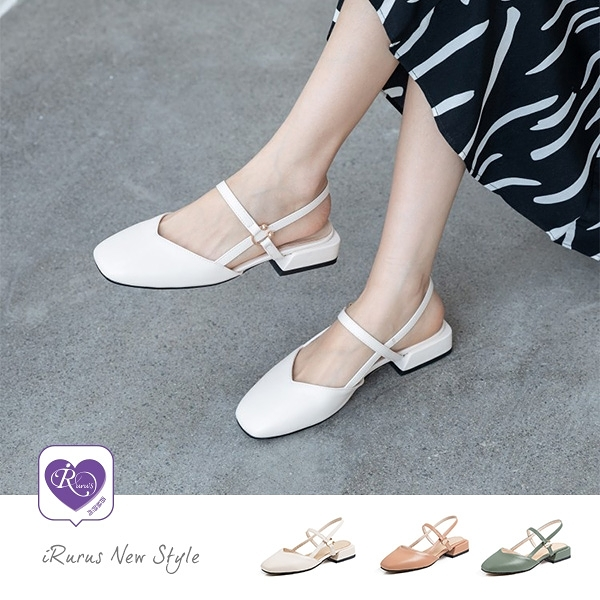 日韓女孩素面方頭一字扣粗低跟鞋/3色/35-40碼 (CX0019-8069-8) iRurus路絲時尚
