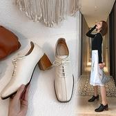 手工大尺碼真皮女鞋34~43 2021時尚百搭頭層牛皮繫帶方頭中跟牛津鞋 紳士鞋 小皮鞋~2色