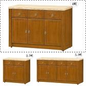 【水晶晶家具/傢俱首選】CX1520-3 喬恩4呎正樟木三抽三門石面餐碗櫃(上圖)