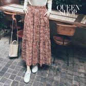 Queen Shop【03020622】滿版潑墨印花雪紡長裙 兩色售*現+預*