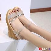 【伊人閣】楔形涼鞋 涼鞋 舒適 坡跟 厚底 鬆糕鞋 軟底鞋