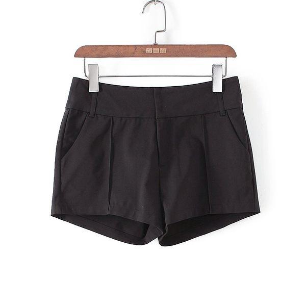[超豐國際]帛春夏裝女裝黑色西短純色簡約短褲 40678(1入)