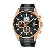ALBA雅柏 新上市廣告款三眼計時碼錶VD57-X136K(AM3598X1) 黑X玫瑰金框