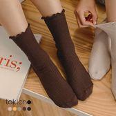 東京著衣-多色復古可愛木耳花邊中筒襪(181789)