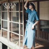 Queen Shop【01084850】附綁帶牛仔短袖襯衫洋裝*現+預*