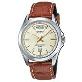 CASIO 星期日期顯示專業實用皮帶錶-羅馬金面X咖啡錶帶(MTP-1370L-9A)