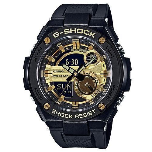G-SHOCK 精密防震分層防護構造概念休閒錶-黑X金