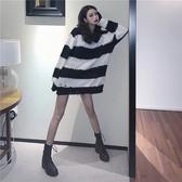 2020秋季新款正韓條紋破洞慵懶風上衣寬鬆中長款長袖薄款針織衫女