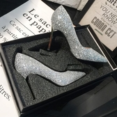 高跟鞋水晶新娘婚鞋女伴娘婚紗鞋細跟高跟鞋女尖頭亮片銀色單鞋BL【快速出貨】
