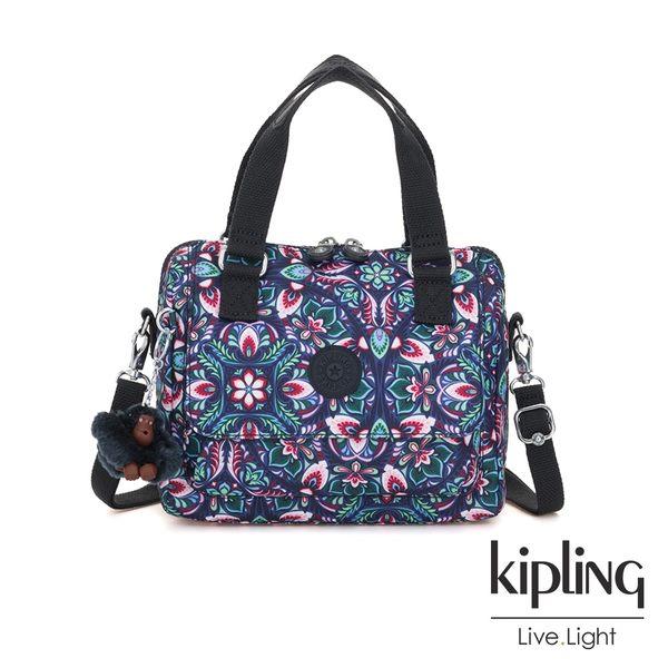 Kipling 熱帶萬花筒印花側翻蓋手提側背包-ZEVA