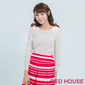 RED HOUSE-蕾赫斯-蝴蝶結珍珠針織上衣(粉色)