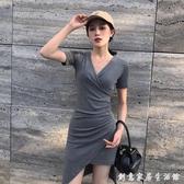 女人味緊身性感洋裝收腰顯瘦V領修身小心機包臀裙子氣質女神范 創意家居生活館