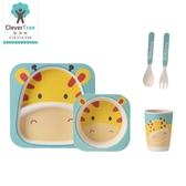 聰明樹兒童餐盤竹纖維餐具套裝嬰兒輔食飯碗卡通叉勺寶寶餐盤分格   LannaS