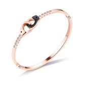 【5折超值價】316L西德鈦鋼時尚精美特色雙色鑲鑽手銬造型女款鈦鋼手環