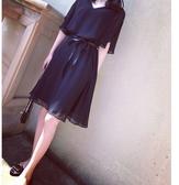 洋裝雪紡裙M-4XL中大尺碼連身裙雪紡短袖中長款顯瘦V領藏肉連衣裙NE35-A.356愛尚布衣