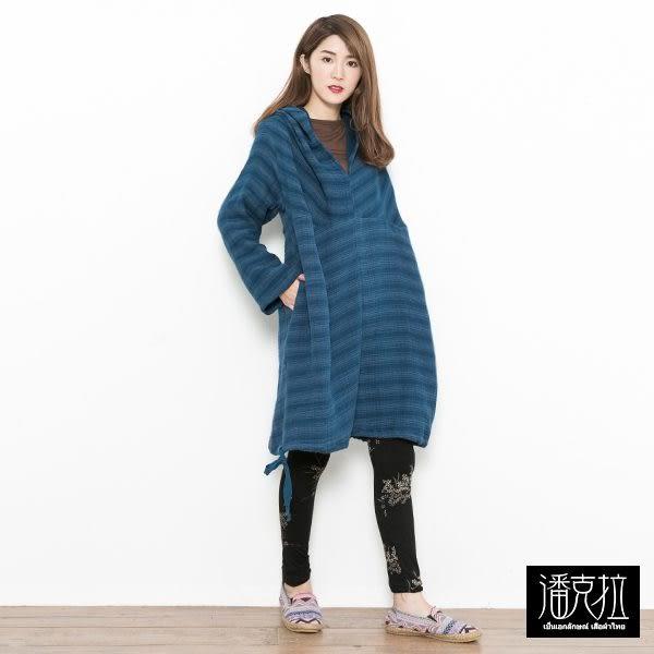 個性連帽寬上衣(黑/藍)-F【潘克拉】