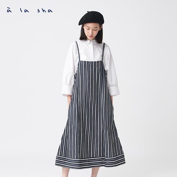a la sha+a 牛仔條紋大裙襬吊帶式洋裝