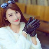 皮手套皮手套女士加絨加厚冬季正韓修手時尚可愛小蝴蝶保暖開車觸屏手套