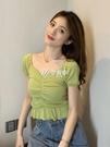 低胸上衣 法式v領t恤女短袖短款性感修身針織露臍鎖骨低胸上衣夏新款