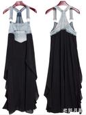 胖MM女裝 新款寬鬆加肥特大碼吊帶背心裙牛仔布拼接雪紡背帶連身裙 DR32402【衣好月圓】