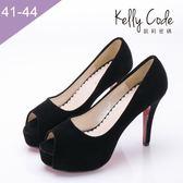 大尺碼女鞋-凱莉密碼-性感細跟質感絨布魚嘴防水台高跟鞋12cm(41-44)【ME1181】