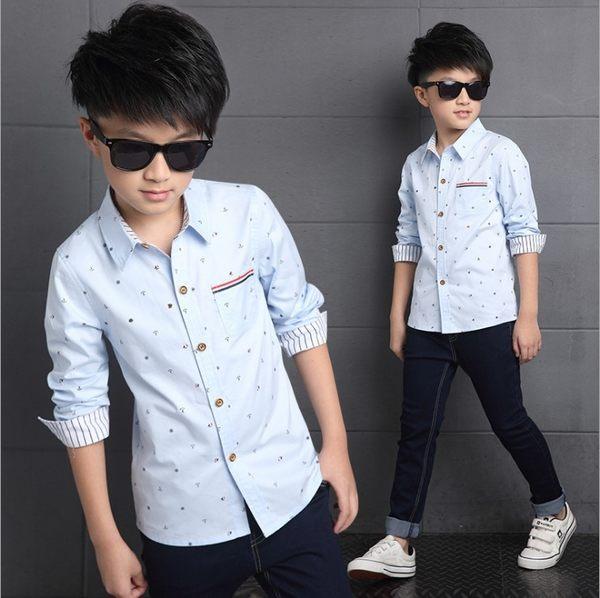 衣童趣♥韓版中大男童 翻領 印花 百搭襯衫 帥氣口袋長袖 正式場合必備 上衣