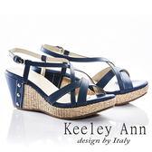 ★2018春夏★Keeley Ann夏日俏皮~交叉環繞編織金屬飾扣全真皮楔形涼鞋(藍色)