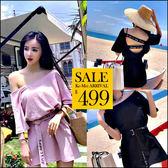 克妹Ke-Mei【ZT46113】歐美時髦 美背摟空電繡字母附腰帶連身洋裝