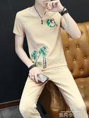 夏季棉麻套裝男士亞麻短袖t恤寬鬆中國風佛系一套復古刺繡兩件套 依凡卡時尚